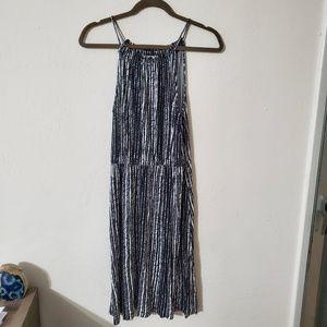 Loft black and white vertical striped dress S